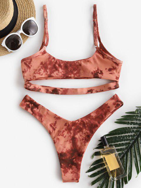 unique ZAFUL Tie Dye Ribbed Underboob Cheeky Bikini Swimwear - ORANGE M Mobile