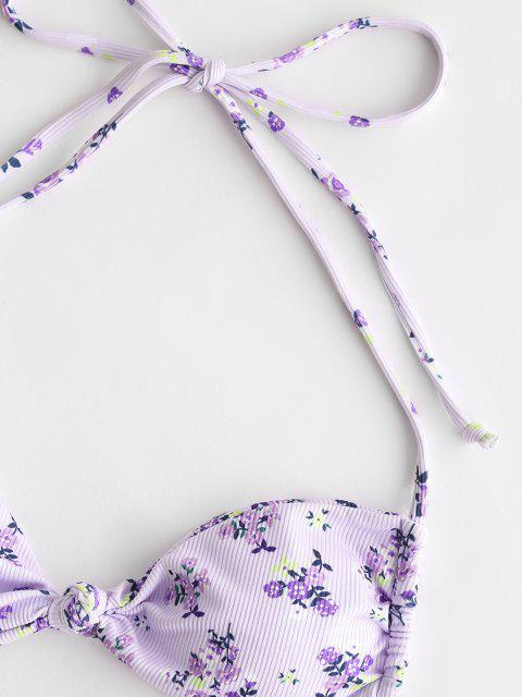 trendy ZAFUL Halter Floral Ribbed Knot Tanga Bikini Swimwear - LIGHT PURPLE M Mobile