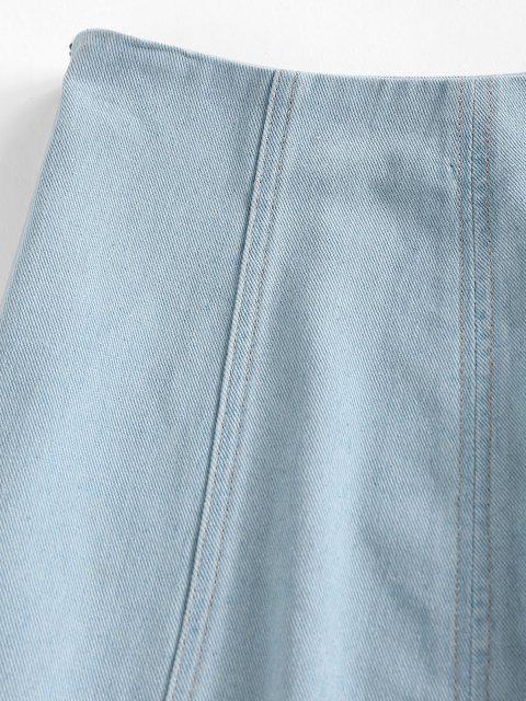 fancy ZAFUL Plain Bodycon Denim Skirt - LIGHT BLUE M Mobile