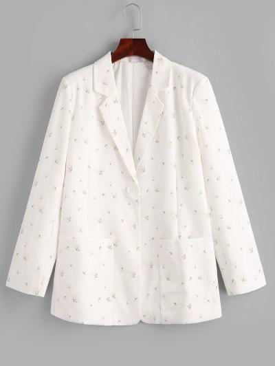 Ditsy Floral Patched Pockets One Buttoned Blazer - White S