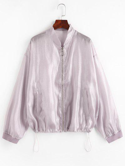 Zip Up Glitter Shiny Jacket - Light Purple L