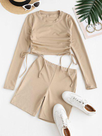 Cycling Side Cinched Two Piece Shorts Set - Light Coffee M