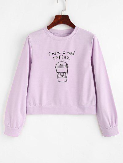 Pullover I Need Coffee Graphic Sweatshirt - Light Purple L