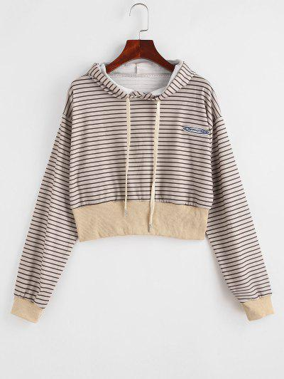 Drawstring Stripes Letter Patched Hoodie - Light Coffee S