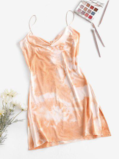 Cowl Neck Tie Dye Side Slit Cami Dress - Light Orange L