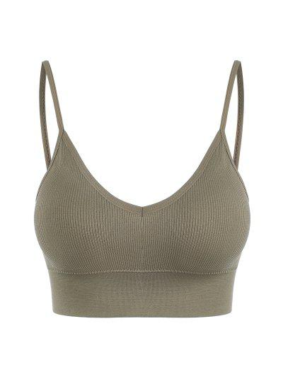 Removeable Pads Ribbed Sports Bra - Camel Brown
