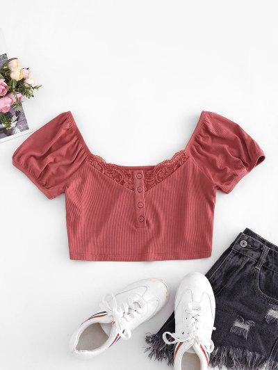ZAFUL Ribbed Lace Insert Henley Crop Tee - Bean Red M