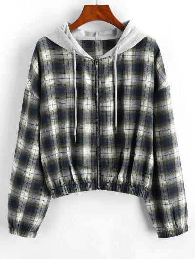 Plaid Hooded Zip Drop Shoulder Jacket - Green M