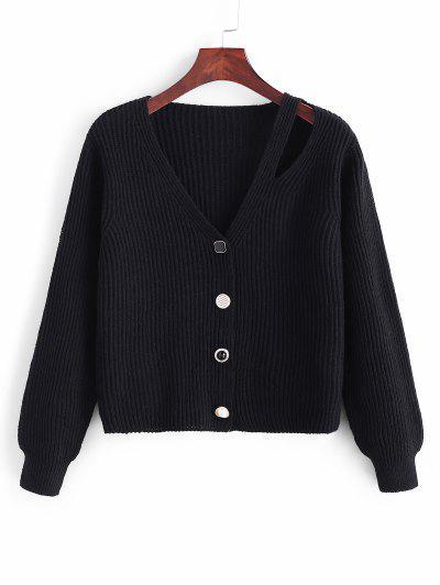 Cutout Button Up Cardigan - Black
