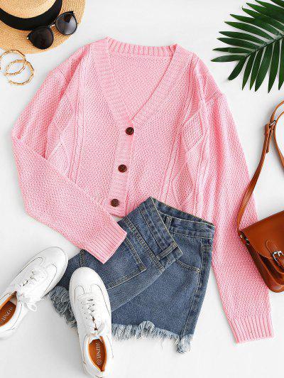 Diamond Cable Knit Cardigan - Light Pink Xl