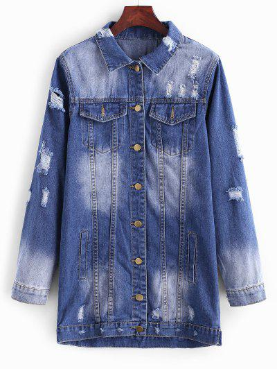 Longline Button Up Distressed Denim Coat - Lapis Blue L