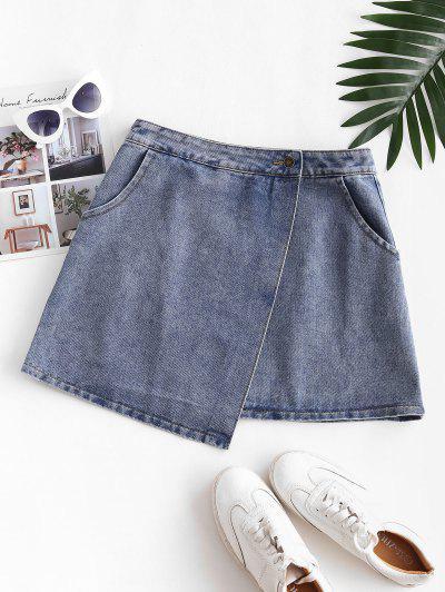 Denim Overlap Front Mini Skirt - Denim Dark Blue Xs