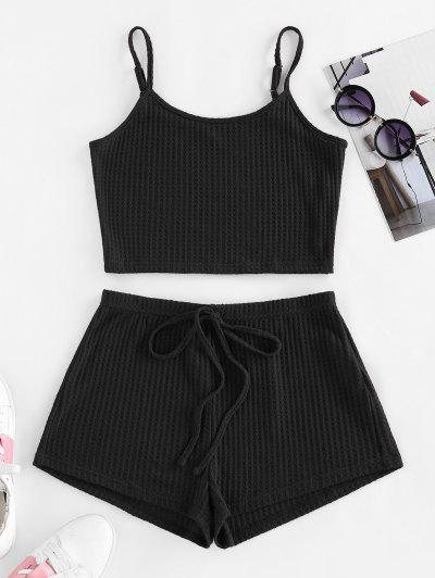 ZAFUL Lounge Textured Cami Bowknot Shorts Set - Black S