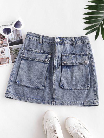 Flap Pockets Denim Cargo Skirt - Slate Blue Xs