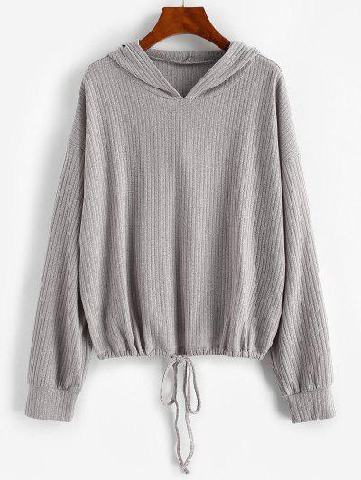 Drop Shoulder Hooded Drawstring Knit Sweater - Gray S