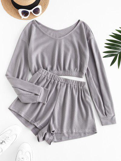 V Neck Cropped Textured Two Piece Set - Gray Xl