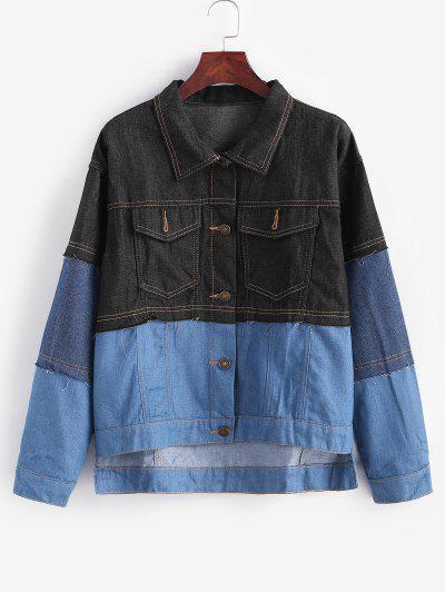 Button Up Colorblock High Low Denim Jacket - Blue Gray M