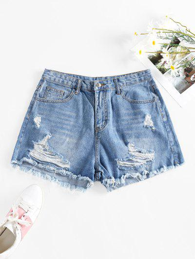 Cut Off Ripped Denim Shorts - Blue M