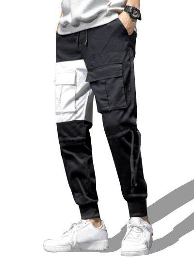 Contrast Patch Drawstring Design Pencil Cargo Pants - White Xs