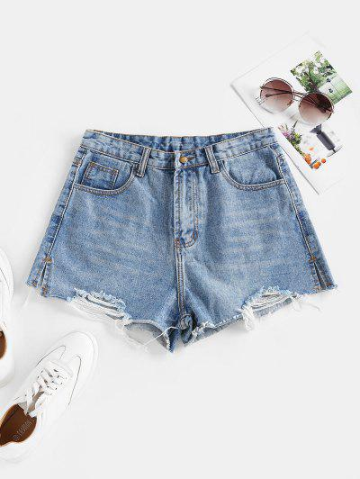 Ripped Cut-off Denim Shorts - Blue S