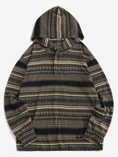 ZAFUL Tribal Striped Pattern Half Button Hoodie - Gray S