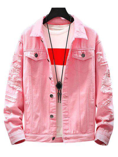 Mock Button Distressed Drop Shoulder Denim Jacket - Pink S