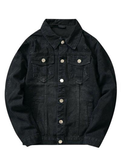 Front Pockets Scratch Button Up Jean Jacket - Black Xs