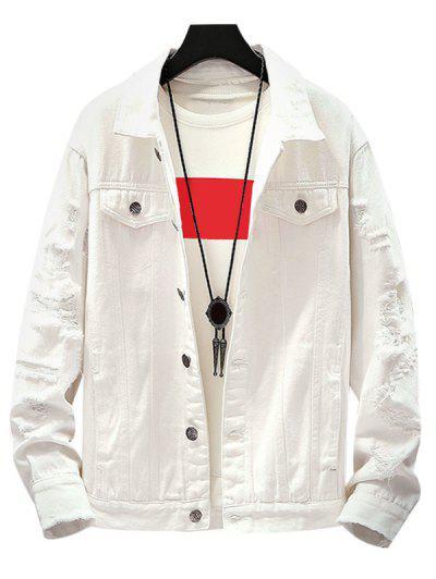 Mock Button Distressed Drop Shoulder Denim Jacket - White Xl