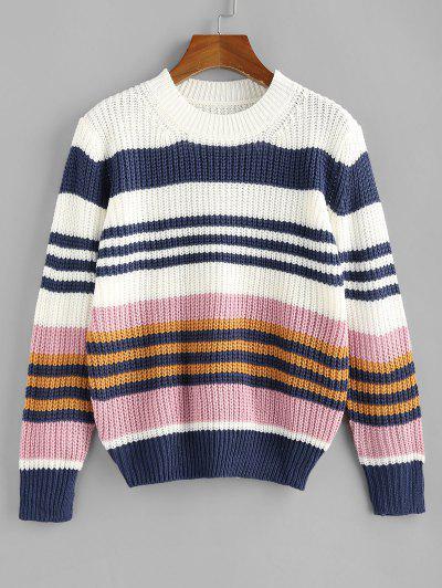 ZAFUL Striped Loose Jumper Sweater - Multi S