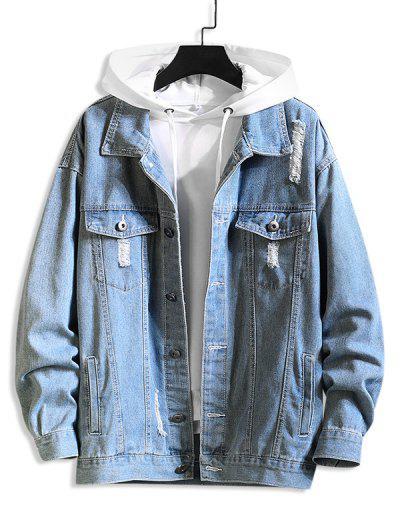 Distressed Flap Pocket Ripped Jacket - Denim Blue Xl