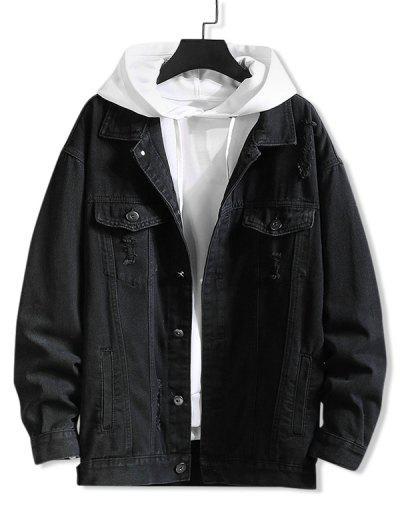 Distressed Flap Pocket Ripped Jacket - Black 2xl