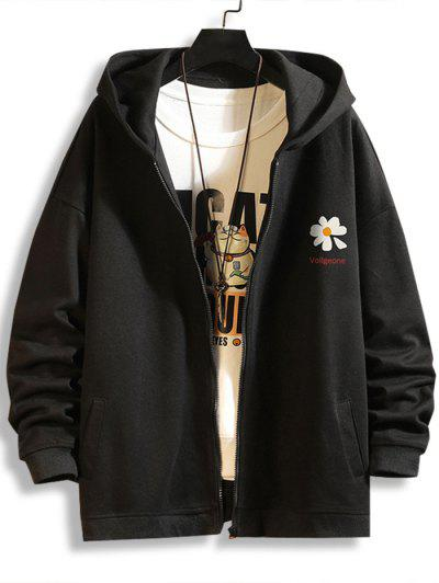 Daisy Letter Print Zip Up Hoodie Jacket - Black M