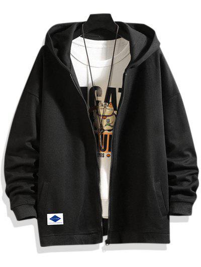 Letters Graphic Print Zip Up Hoodie Jacket - Black M