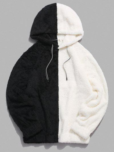 Contrast Faux Fur Fluffy Hoodie - White L