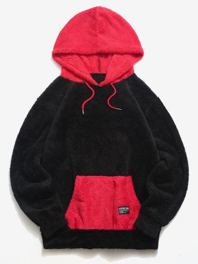 ZAFUL Colorblock Kangaroo Pocket Fluffy Hoodie - Black L