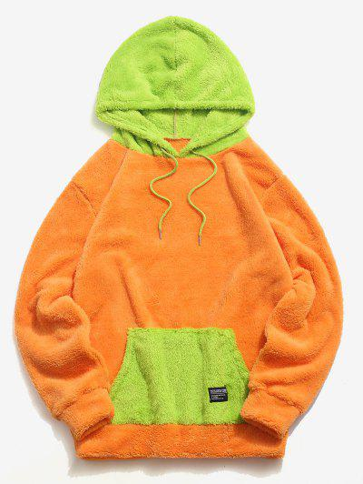 ZAFUL Colorblock Kangaroo Pocket Fluffy Hoodie - Dark Orange L