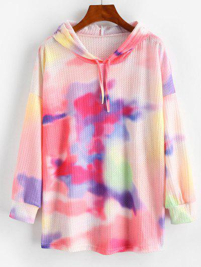 Drawstring Tie Dye Textured Hoodie - Blush Red M