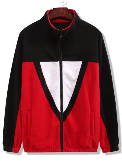 Color Blocking Fleece Jacket - Black L