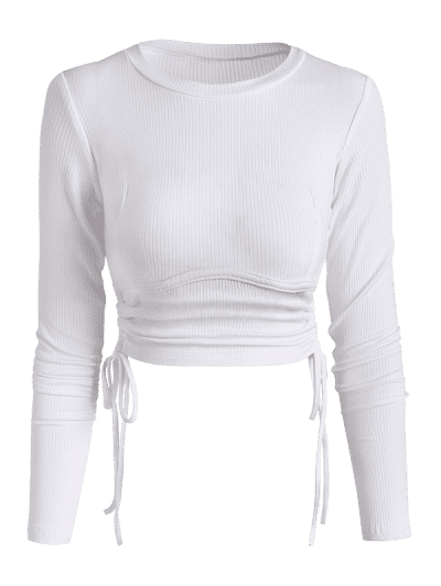 Ribbed Side Cinched Crop Top
