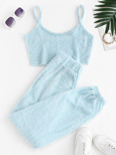 Fuzzy Knit Two Piece Pants Set - Light Blue S