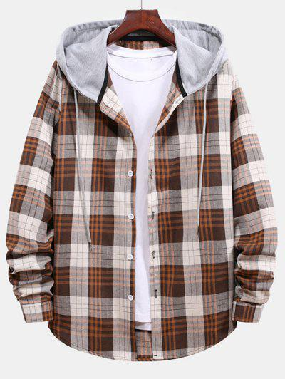 Plaid Pattern Color Blocking Hooded Shirt - Beige L