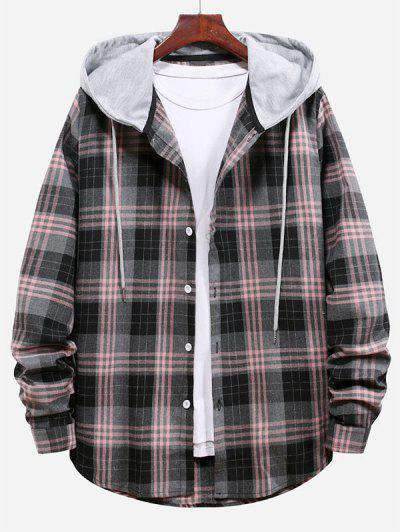 Plaid Pattern Color Blocking Hooded Shirt - Smokey Gray L