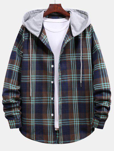 Plaid Pattern Color Blocking Hooded Shirt - Cadetblue L