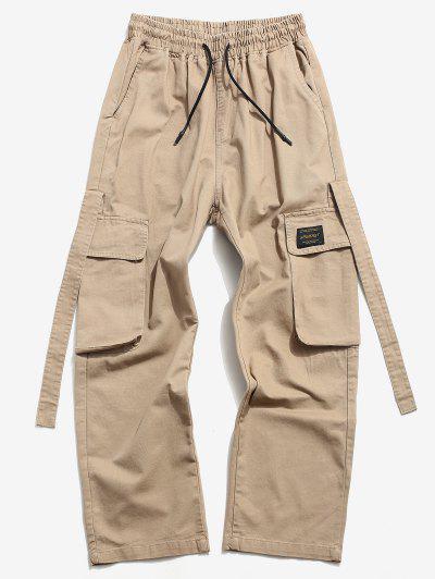 Drawstring Letter Applique Casual Cargo Pants - Khaki Xs
