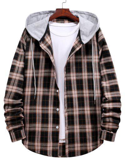 Plaid Print Hooded Drawstring Shirt - Black L