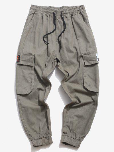 Flap Pocket Applique Solid Cargo Pants - Gray S