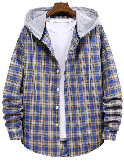 Plaid Pattern Colorblock Hooded Shirt - Blue Koi L