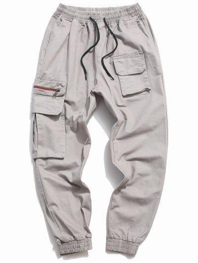 Letter Print Drawstring Multi Pockets Casual Pants - Gray Xs