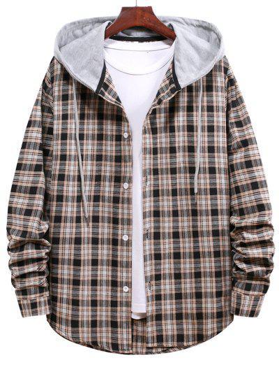 Plaid Pattern Colorblock Hooded Shirt - Black M