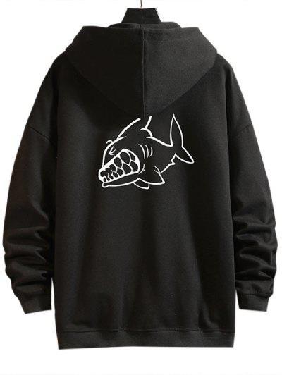 Cartoon Shark Print Zip Up Hoodie Jacket - Black 3xl